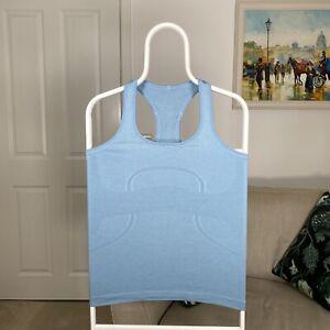 Womens LULULEMON Mesh Running Gym Training Yoga Pilates Sports Vest Blue -Size 6