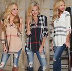 Womens Plaid Blouse Casual 3/4 Sleeve Shirt V Neck Loose Check T-shirt Tunic Top