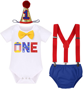 Circus Carnival Theme 1st Birthday Cake Smash Outfit for Baby Boy Suspenders Hat
