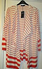 BNWT Ladies Marks & Spencer Long Sleeve Red/Cream  Striped Cardigan Size XL