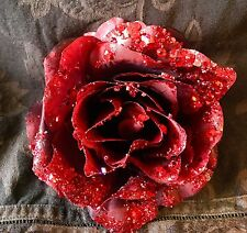 (Pair) Red Roses with Glitter Clip On (Artificial) 14cm