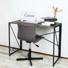 Computer Desk Simple Studying Steel Style Brown