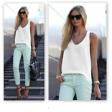 Womens Plain Sleeveless Tank Blouse Ladies Chiffon Camisole Vest Tops Cami White Xl/uk 12-14
