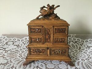 Black Forest Carved Walnut Jewellery Box With Birds - Hinged Lid and Sides