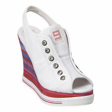 Nine West PS LuvMe White Denim Platform Wedge Sandal Sneakers 10M 92SPM100W $99