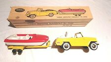 Yellow Tonka Jeepster Runabout with Boat & Trailer, Orig. Box 2460