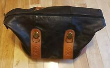 Marino Orlandi Travel Duffel Weekend Overnight Black Tan Italian Leather XL Bag