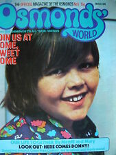 OSMONDS WORLD MAGAZINE ISSUE 5 MARCH 1974 - (W/ DONNY OSMOND POSTER!)