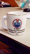 NHL STANLEY CUP CRAZY MINI MUG EDMONTON OILERS 1987 CHAMPS W/OPPONENT &SCORE