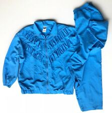 Vtg Sport Womens L 90s Blue Windbreaker Jogging Track Leisure Suit Jacket Pants