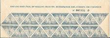 España. Beneficencia. Bloque de 20 sellos del 5 cts Azul cabecera de Pliego