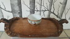 oriental small bowl and small wood hand made old tray- job lot