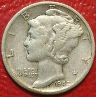 1942-D Mercury Dime , Circulated  , 90% Silver US Coin