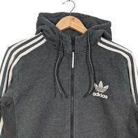 Adidas Dark Grey Full Zip Hoodie Three Stripes - Mens M