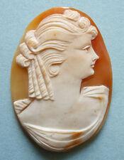 Beau camée sur coquille ancien vers 1910 femme pour broche pendentif cameo