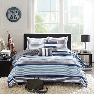 BEAUTIFUL MODERN SPORT BLUE NAVY GREY WHITE STRIPE SOFT QUILT SET & PILLOWS NEW!