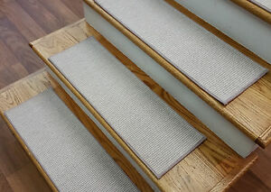 """Taupe Stair Treads by Rug Depot - Set of 7 Wool Non Slip Carpet Treads 26"""" x 9"""""""