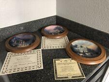 Thomas Kinkade Xmas Plates 3, Home For The Holidays Series. Coa. Wood Frames