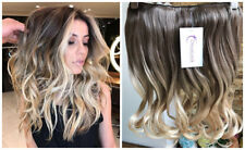"""Thick One Piece Half Head Dip Dyed Ombre Clip in Hair Extensions 17"""" Short"""