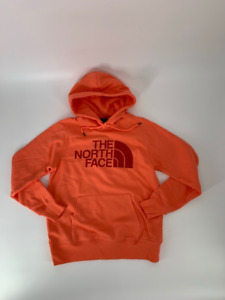 The North Face Womens Half Dome Hoodie Sweatshirt Miami Orange Pullover S New