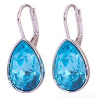 Swarovski Elements Crystal Aquamarine Teardrop Earrings Rhodium Authentic 7255u