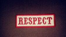 Respect Name Tape Patch, Colors are Red & White Name Tape 1%er Biker 4  x 1 1/2