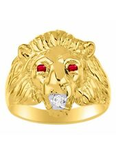 Diamond & Ruby Lion Head Ring Gold Plated Silver