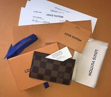 BRAND NEW BOXED LOUIS VUITTON CARD HOLDER DAMIER EBENE CANVAS- 100% AUTHENTIC