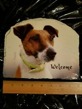 Magnificent Fox Terrier Dog Slate Stone Welcome Sign Plaque Glazed Sturdy
