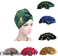 Women Sequined Peacock Embroidery Long Velvet Turban Head Wraps Hijab Head Scarf