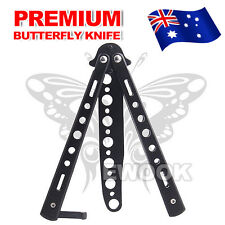 Folding Butterfly Knife Training Balisong Dull Blade Practice Trainer Black