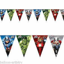 Marvel's AVENGERS HEROES Children's Party Plastic Pennant Flag Banner Decoration