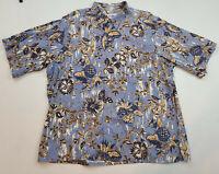 Reyn Spooner Mens Hawaiian Shirt Xl Blue Floral Button Down Aloha Camp