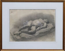 ACADEMIC MALE NUDE PORTRAIT RUSSIAN DRAWING EXHIBITED SIGNED STUDY ART PAINTING