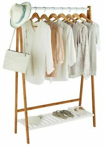 Home Belvoir Clothes Rail with Shelf - Bamboo & White