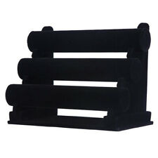 3-Tier Rack Black Velvet Jewelry Bracelet Watch Display Bangle Holder Countertop