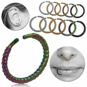 Stainless Steel Fake Piercing Cord Rope Lip Nosering Septum Jewelry Fakeplug Set