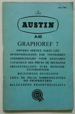 Austin A40. Graphoref 7. Owners service parts list. 7 languages. AKD1399