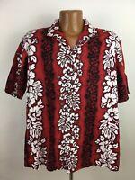 Royal Hawaiian Creations Hawaiian Shirt Mens XL Dark Red Hibiscus Floral Striped