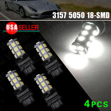 4x Pure White 3157 5050 3156 18SMD Tail Brake/Parking Turn Signal LED Light Bulb