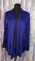 Travelers by Chico's Women's Asymmetrical ribbed Cardigan purple Blue Size 1