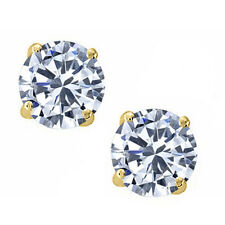 14K Solid Yellow Gold White Sapphire Round Stud w/ Screw Back Stud Earrings