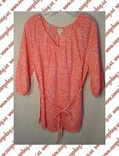 Womens Plus 1X Peach Floral Cotton Blouse 3/4 Sleeves Tie Waist Top Shirt New