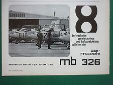 12/1969 PUB AVION AERMACCHI MB 326 JET TRAINER FLUGZEUG ORIGINAL GERMAN AD