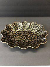 Vintage Antique Toleware Black And Gold Floral Scallop Edge Bowl Centerpiece