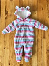 Old Navy Infant Girl Size 0-3 Month Stripe Fleece Sherpa Lined Snowsuit Bunting