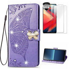 Bling Butterfly Wallet Phone case With 2 Glass Screen Protector Film & 2 Straps