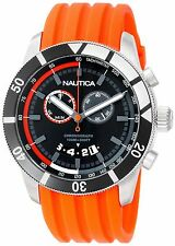 Nautica Men's Orange Chronograph Sport Watch Rubber Strap Black Dial N17586G New