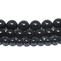 "Black Tourmaline Gemstone Beads Round Grade A 6mm 8mm 10mm 15.5"" Full Strand"