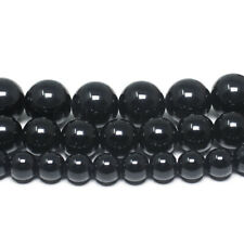 Black Tourmaline Gemstone Beads Round Grade A 6mm 8mm 10mm 15.5